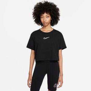 Nike Sportswear Printed Crop t-shirt Dames Zwart