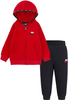 Nike Micro Swoosh Full Zip Fleece kids set Jongens Zwart