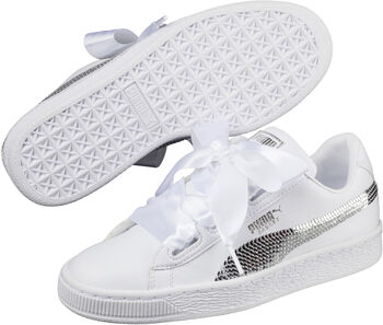 Puma Basket Heart Bling - kids Meisjes Wit