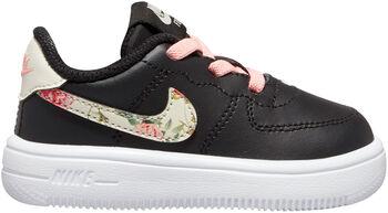 Nike Force 1 Vintage Floral Baby/Toddler Shoe Zwart